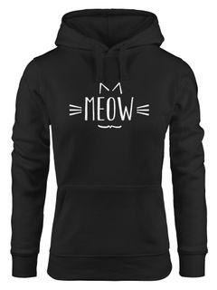 Damen Hoodie Katze Meow Miau Cat Sweatshirt Kapuze Kapuzenpullover Moonworks®