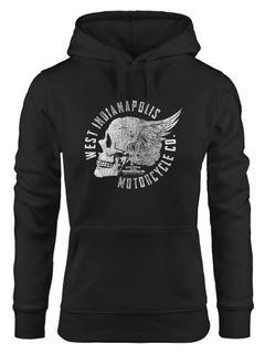 Hoodie Damen Totenkopf Flügel Motorrad Biker Skull Wings Vintage Neverless®