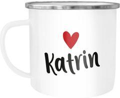 Emaille-Tasse mit Namen und Herz personalisierbares Motiv individuelles Geschenk Liebe beste Freundin SpecialMe®