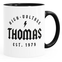 Tasse Geschenk Geburtstag personalisierbar Schriftzug High Voltage anpassbarer Name und Geburtsjahr Kaffeetasse MoonWorks®