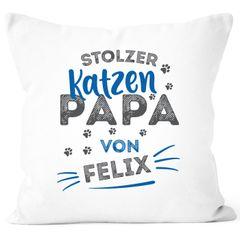 Kissen-Bezug Geschenk Katzenbesitzer Spruch personalisierbar stolze/r Katzenmama/Katzenpapa von und Katzen-Name SpecialMe®