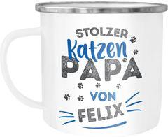 Emaille-Tasse Becher Geschenk Katzenbesitzer Spruch personalisierbar stolze/r Katzenmama/Katzenpapa von und Katzen-Name SpecialMe®