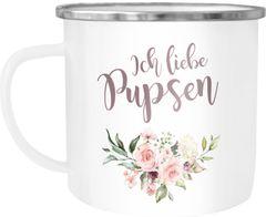 Ich liebe Pupsen Emaille Tasse Becher Blumen Kaffeetasse Moonworks®