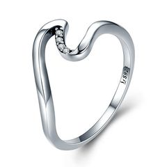 Damenring Welle Verlobungsring Bandring 925 Sterling Silber Zirkonia Kristalle Autiga®