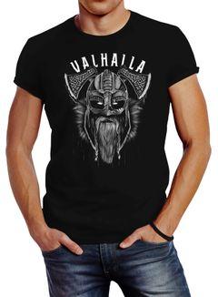 Neverless® Herren T-Shirt Aufdruck Valhalla Wikinger Helm Viking Odin Krieger Printshirt Fashion Streetstyle