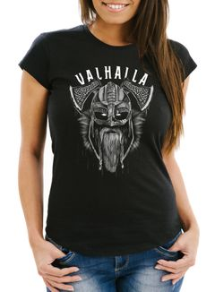 Damen T-Shirt Aufdruck Valhalla Wikinger Helm Viking Odin Krieger Fashion Streetstyle Slim Fit Neverless®