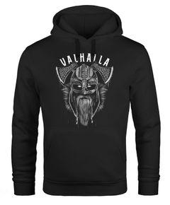Hoodie Herren Aufdruck Valhalla Wikinger Helm Viking Odin Krieger Kapuzen-Pullover Männer Fashion Streetstyle Neverless®
