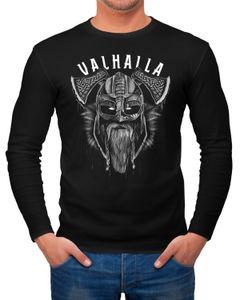 Herren Long-Sleeve Valhalla Wikinger Helm Viking Odin Krieger Printshirt Langarm-Shirt Neverless®