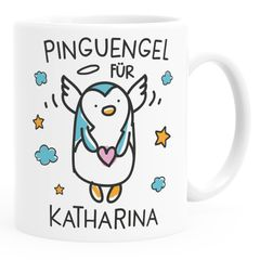 Kunststoff Kinder-Tasse Pinguengel Engel Pinguin Schutzengel mit Name Namenstasse Glücksbringer Geschenk SpecialMe®