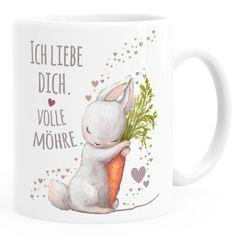 Kaffee-Tasse Liebesgeschenk Ich liebe dich volle Möhre Hase mit Karotte Liebesbotschaft Liebesbeweis Moonworks®