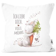 Kissenbezug Liebesgeschenk Ich liebe dich volle Möhre Hase mit Karotte Liebesbotschaft Liebesbeweis Moonworks®