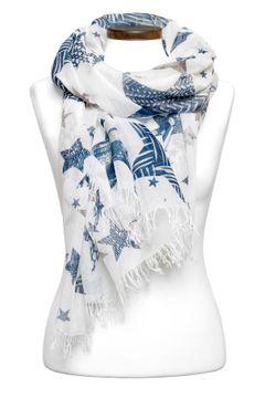 hochwertiger Damen-Schal mit Sternen und Fransen Tuch Halstuch, Made in Italy Autiga®