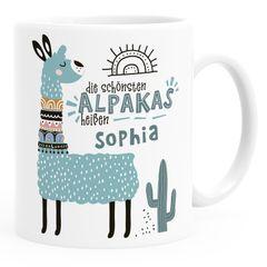 Kaffeetasse Spruch Die schönsten Alpakas heißen eigener Name personalisierte Namenstasse individuelle Namensgeschenke Lama SpecialMe®