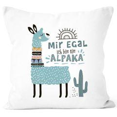 Kissen-Bezug Mir egal ich bin ein Alpaka - Alpaka-Motiv Lama Geschenk Alpaka-Liebhaber Dekokissen SpecialMe®