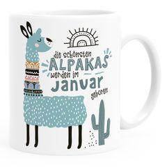 Kaffee-Tasse Die Schönsten Alpakas werden im Januar-Dezember geboren anpassbares Motiv Geburtsmonat individuelle Geburtags-Geschenke Lama SpecialMe®