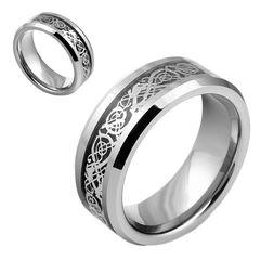 Wolfram Ring Tungsten Herren Damen Celtic Keltisch Drache Inlay Partnerring Bandring Wolframcarbid
