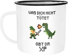 Emailletasse für Nerds Gamer Spruch Was dich nicht tötet gibt dir XP Computerspiel Pixel Emaillebecher MoonWorks®