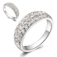Damen Ring Zirkonia Kristall Strass Luxus Edel Verlobungsring Swarovski Elements 18KGP