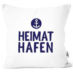 Kissenbezug Aufschrift Heimathafen Anker Geschenk Partner Familie Freunde maritimes Motiv Moonworks®
