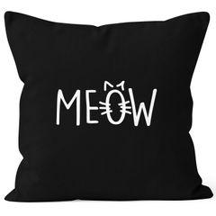 Kissenbezug Kissen-Hülle Deko-Kissen 40x40 Katze Meow Miau Cat Baumwolle MoonWorks®
