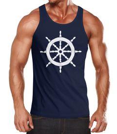 Herren Tanktop Steuerrad Segeln Muskelshirt Tank Top Muscle Shirt Achselshirt Moonworks®
