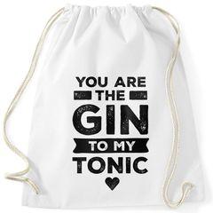 """Turnbeutel Spruch """"You are the Gin to my Tonic"""" lustige Liebesbotschaft Geschenk Freund/Freundin Valentinstag Gymbag Moonworks®"""