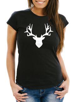 Damen T-Shirt Hirsch Geweih Slim Fit Moonworks®