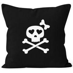 Kissenbezug Kissen-Hülle Deko-Kissen 40x40 Knochen Bones Totenkopf Pirat Baumwolle MoonWorks®