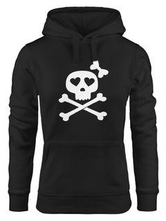 Hoodie Damen Knochen Bones Totenkopf Pirat Sweatshirt Kapuze Kapuzenpullover Moonworks®