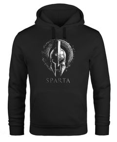 Hoodie Herren Aufdruck Sparta Helm Krieger Warrior Printshirt T-Shirt Kapuzen-Pullover Männer Fashion Streetstyle Neverless®