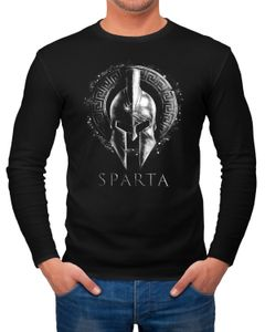 Herren Long-Sleeve Aufdruck Sparta Helm Krieger Warrior Langarm-Shirt Neverless®