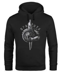 Hoodie Herren Aufdruck Sparta Spartaner-helm Krieger Warrior Schwert Schild Löwe Kapuzen-Pullover Männer Fashion Streetstyle Neverless®