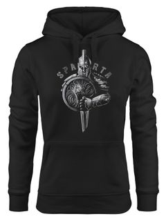 Hoodie Damen Aufdruck Sparta Spartaner-helm Krieger Warrior Schwert Schild Löwe Kapuzen-Pullover Fashion Streetstyle Neverless®