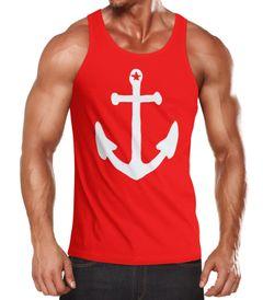 Herren Tanktop Anker Anchor Stern Vintage Muskelshirt Tank Top Muscle Shirt Achselshirt Moonworks®