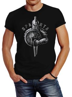 Neverless® Herren T-Shirt Aufdruck Sparta Spartaner-helm Krieger Warrior Schwert Schild Löwe Fashion Streetstyle