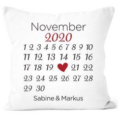 personalisiertes Kissen Kalender mit anpassbarem Datum und Wunsch-Namen Geschenk Liebe SpecialMe®