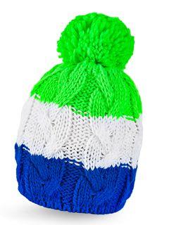 Strickmütze Wintermütze Pudelmütze Bommelmütze bunt Neon gestreift Fleece
