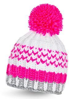 Strickmütze Wintermütze Bommelmütze bunt Neon gestreift Fleece Pudelmütze