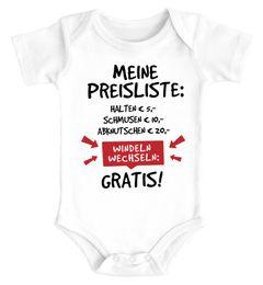 Baby Body mit Spruch lustig meine Preisliste Bio-Baumwolle Jungen & Mädchen MoonWorks®