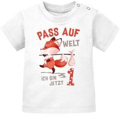 Baby T-Shirt 1. Geburtstag Pass auf Welt ich bin jetzt 1 Fuchs Geburtstagsshirt kurzarm Bio-Baumwolle MoonWorks®