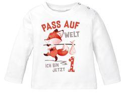Baby Langarm-Shirt 1. Geburtstag  Pass auf Welt ich bin jetzt 1 2 Fuchs Geburtstagsshirt Bio-Baumwolle MoonWorks®