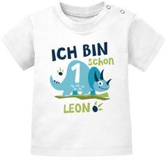 Baby T-Shirt mit Namen und Zahl 1 / 2 Geschenk zum Geburtstag Dinosaurier Dino für Jungen SpecialMe®