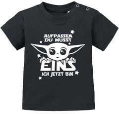 Baby T-Shirt Yoda Parodie erster oder zweiter Geburtstag lustiger Spruch Geburtstagsshirt kurzarm Bio-Baumwolle MoonWorks®