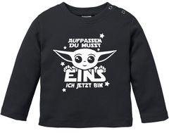 Baby Langarm-Shirt Baby Yoda Parodie 1 / 2 Geburtstag Spruch Geburtstagsshirt Bio-Baumwolle Junge/Mädchen MoonWorks®