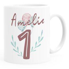 Kindertasse Kunststoff 1.2. Geburtstag Personalisiertes Geschenk personalisierte Namenstasse für Kinder Mädchen SpecialMe®