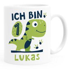 Kindertasse Kunststoff. T-Rex Dino Baby 1. 2. Geburtstag personalisierte Namenstasse für Jungen Mädchen SpecialMe®