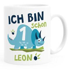 Kindertasse Kunststoff, personalisierte Namenstasse Dino Triceratops Geburtstag Ich bin schon 1 2 SpecialMe®
