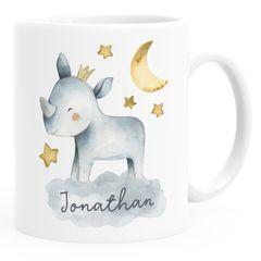 Kinder-Tasse Kunststoff Tier-Motive Nashorn Löwe Elefant personalisierte Namenstasse für Jungen und Mädchen SpecialMe®