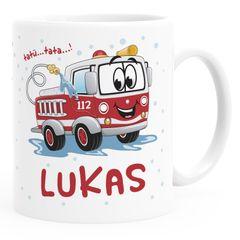 Kinder-Tasse Kunststoff Baby Motiv Personalisiert Feuerwehrauto  personalisierte Namenstasse SpecialMe®