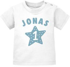 personalisiertes Baby T-Shirt Name und Zahl 1 zum ersten Geburtstag Motiv Stern Junge/Mädchen SpecialMe®
